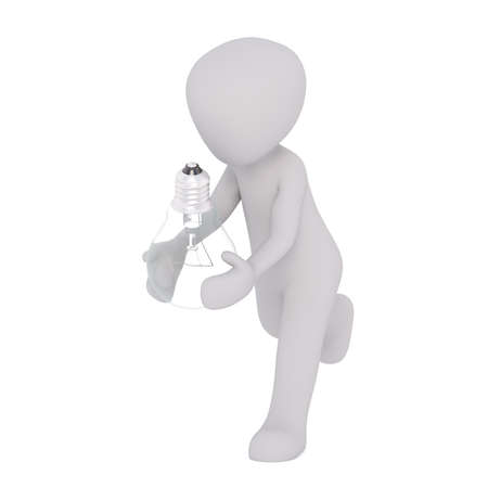 3D white man carrying glass incandescent lamp bulb in his hands, faceless cartoon isolated on white background