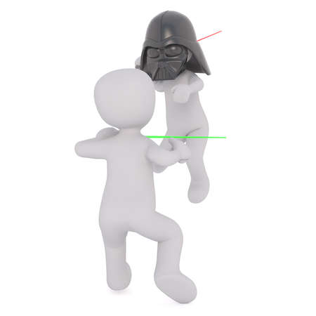 sabre's: Two 3d toons fighting with light sabres, one in Darth Vader mask, white background