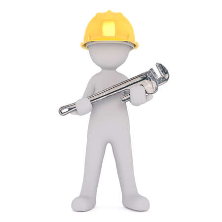 oversize: Generic Gray 3d Cartoon Figure Wearing Yellow Hard Hat and Holding Large Oversize Wrench in front of White Background Stock Photo