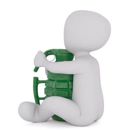 oversize: Generic Gray 3d Cartoon Figure Sitting on Ground with Large Oversize Green Army Grenade in front of White Background