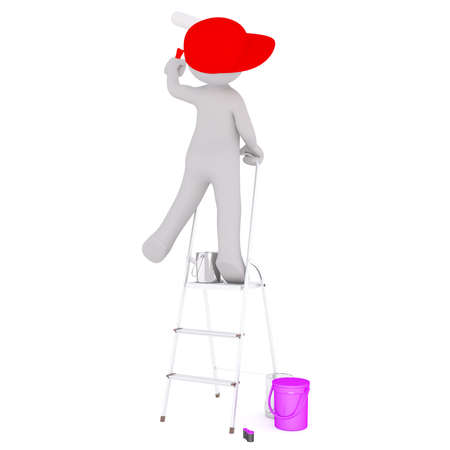 Generic Gray 3d Cartoon Figure Wearing Red Cap and Holding Paint Roller While Perched Precariously on Ladder in front of White Background with Various Paint Cans and Buckets Stock Photo