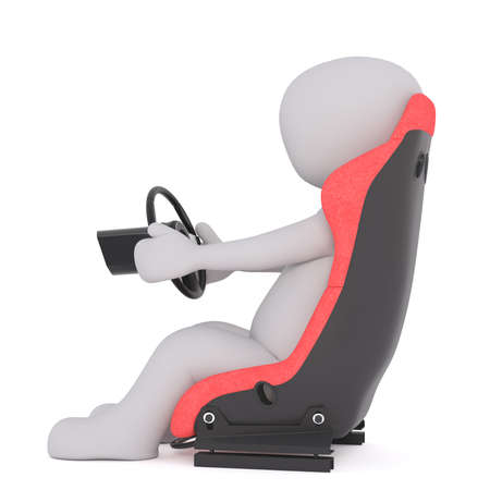 Generic Gray 3d Cartoon Figure Sitting in Plush Red Driver Seat and Steering with Wheel in front of White Background - Profile View of Racing Concept Image
