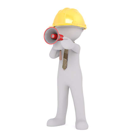 Generic Gray 3d Cartoon Figure Wearing Yellow Hard Hat and Patterned Tie Speaking Through Megaphone in front of White Background