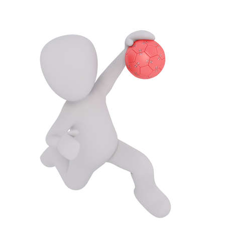 Full body 3d toon exercising with red ball on white background Stock Photo