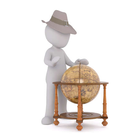Generic Gray 3d Cartoon Figure Wearing Adventure Fedora Hat and Looking Down at World Globe Mounted in Stand - Choosing Next Destination