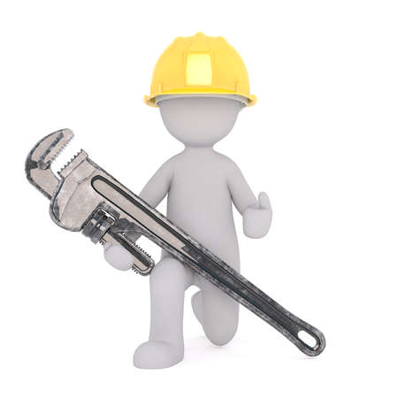 Generic Gray 3d Cartoon Figure Wearing Yellow Hard Hat and Holding Large Oversize Wrench While Kneeling in front of White Background