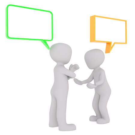 toons: Two 3d toons having conversation under empty speech boxes with copy space on white