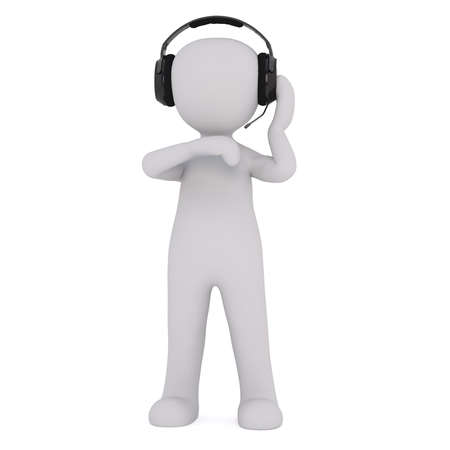 looking down: Generic Gray 3d Cartoon Figure Standing in front of White Background and Listening to Speaker through Head Set and Looking Down at Implied Wrist Watch - Production Concept Image Stock Photo