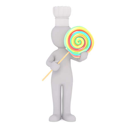oversize: Generic Gray 3d Cartoon Figure Wearing Chef Hat and Standing in front of White Background Holding Large Oversize Swirl Lollipop Sucker Stock Photo