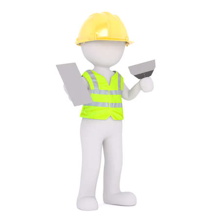 Faceless cartoon character of construction worker man plasterer in hardhat and safety vest, holding grout and trowel, standing isolated on white