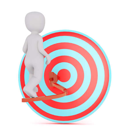 3D figure of man walking by curvy arrow pointing to his target. Render isolated on white background Stock Photo