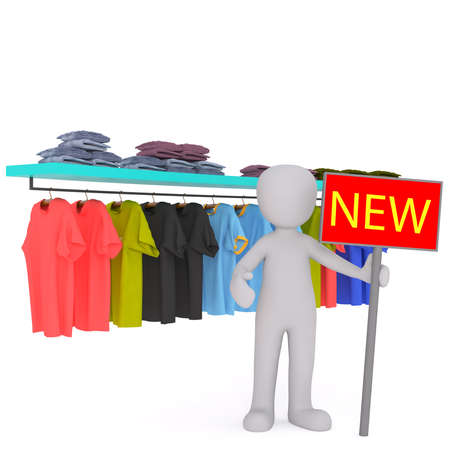 clothing rack: 3d Gray Cartoon Figure in Clothing Store Holding Sign Reading New in front of Rack of Clothing