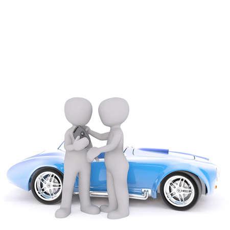 beside: One 3D man hands broken parking meter to another figure standing beside blue sports car