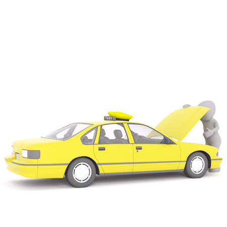 stopped: Figure of faceless 3D man looking under the hood of yellow taxi cab, render isolated on white background Stock Photo