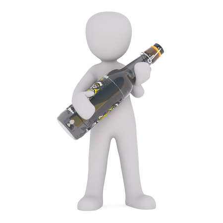 oversize: Generic Gray 3d Cartoon Figure Standing in front of White Background Holding Large Oversize Bottle of Beer