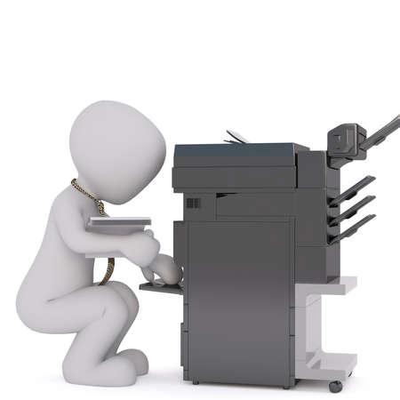 Faceless 3D Mann mit Stapel der Papiere in der Nähe von schwarzen Kopie Maschine hockend, Render isoliert auf weißem Hintergrund Standard-Bild