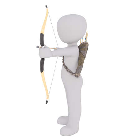 Full body 3d toon archer firing bow and arrow with quiver on back, white background