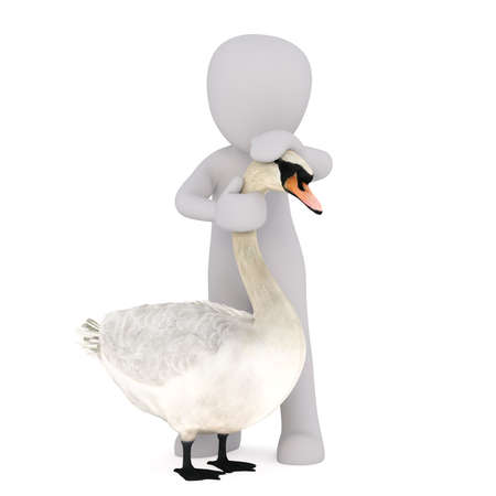 stroking: Faceless 3D man standing near swan holding his hands on its head and neck as if stroking, render isolated on white background