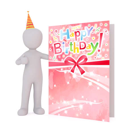 Generic Gray 3d Cartoon Figure Wearing Party Hat and Standing Next to Large Oversize Birthday Card in front of White Background Stock Photo - 70033816