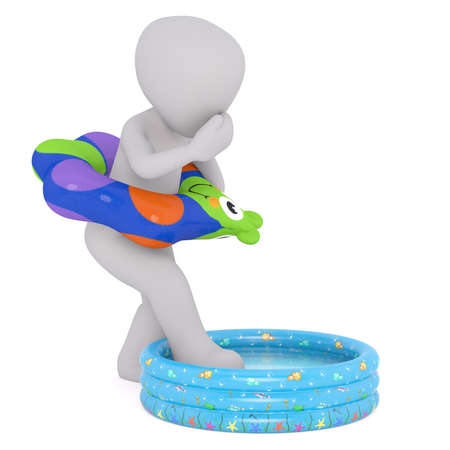 stepping: Nervous Generic Gray 3d Cartoon Figure Wearing Colorful Inflatable Ring Around Waist and Plugging Nose While Stepping Into Shallow Swimming Pool in front of White Background