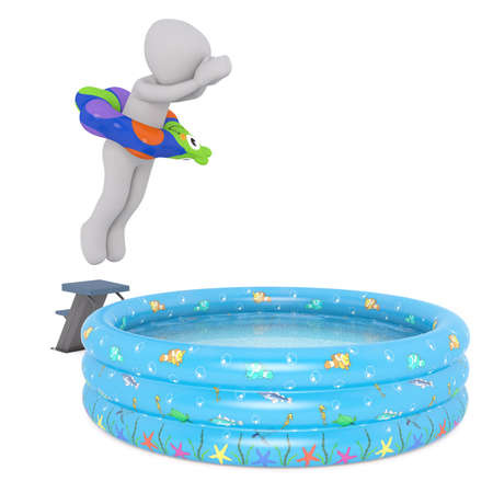 Generic Gray 3d Cartoon Figure Wearing Inflatable Novelty Ring Around Waist While Diving Into Shallow Swimming Pool in front of White Background Stock Photo
