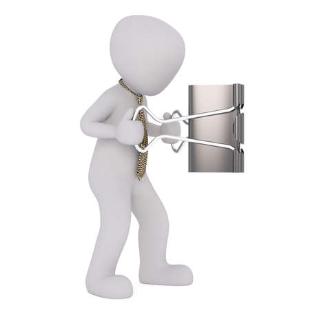 Figure of faceless 3D man in necktie holding huge black metal binder clip, standing isolated on white Stock Photo