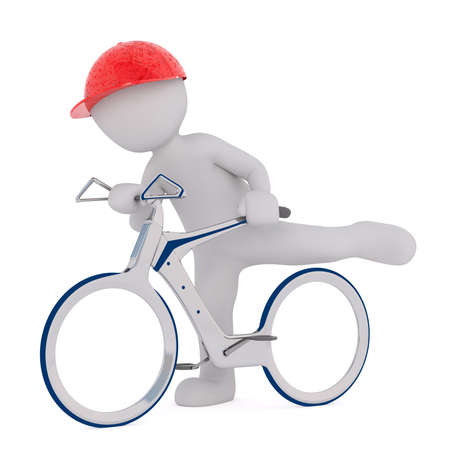 futuristic man: Faceless 3d man in red cap saddling up futuristic bicycle model, render isolated on white background Stock Photo