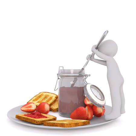 toasted bread: Small Generic Gray 3d Cartoon Figure Dipping Large Oversize Knife into Jar of Jelly Preserves Resting on Plate with Toasted Bread and Fresh Strawberries