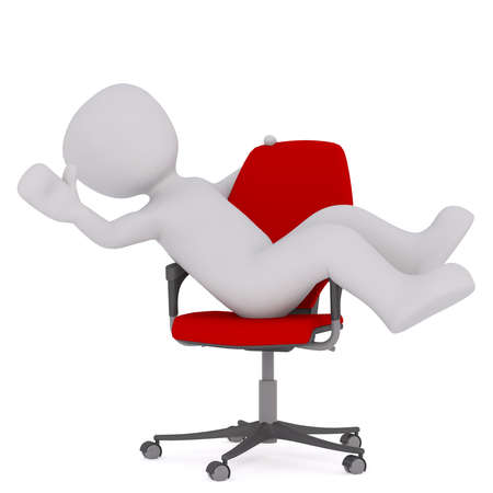 Generic Gray 3d Cartoon Figure Reclining Comfortably in Plush Red Office Chair in front of White Background