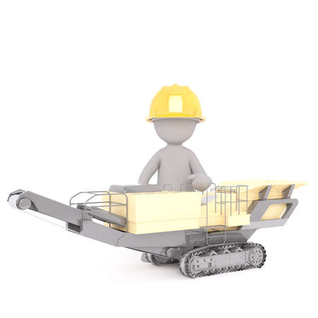 3D illustrated construction worker sits in machine with conveyor belt and wheels joined by treads Stock Photo