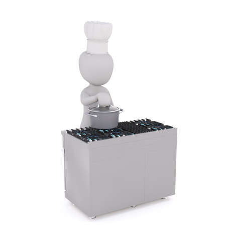 Figure of 3D man chef standing at the stove and holding his hand on lid of pot, isolated on white background