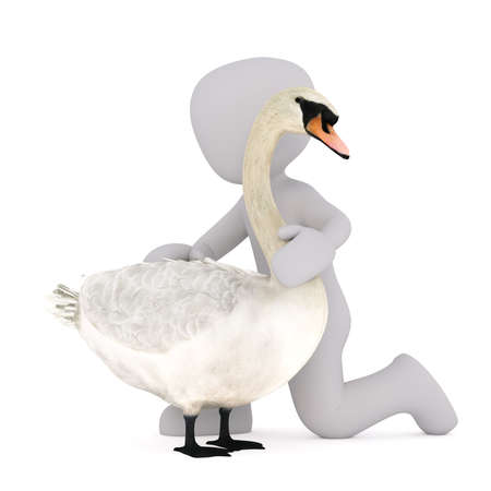 Figure of faceless 3D man standing on his knee and stroking swan back, render isolated on white Stock Photo