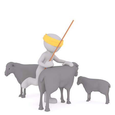 Figure of 3D man faceless character shepherd with yellow headband and stick trying to climb sheep back, standing between sheep herd, isolated on white Stock Photo