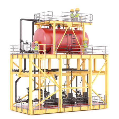 plant stand: Two 3D illustrated figures stand on platform atop a power plant and wearing hard hats Stock Photo
