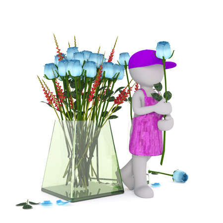 oversize: Generic Gray 3d Cartoon Figure Wearing Bright Purple Cap and Apron Holding Blue Rose Beside Large Oversize Glass Vase with Bouquet in front of White Background