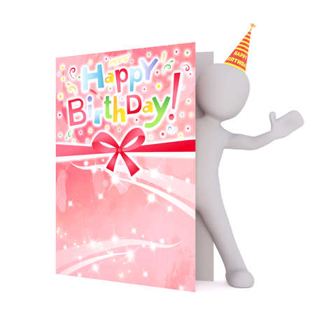 oversize: Generic Gray 3d Cartoon Figure Wearing Party Hat and Peeking Out from Inside Large Oversize Birthday Card in front of White Background