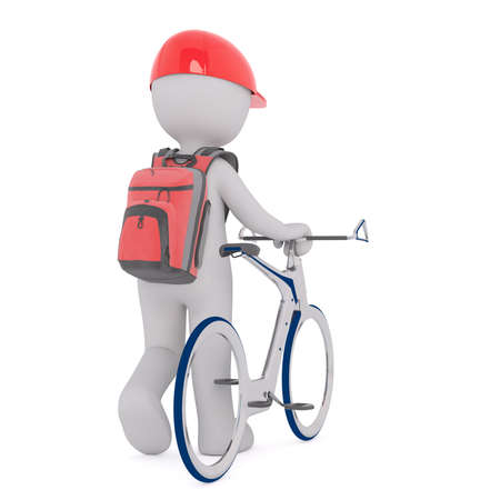 赤い帽子と白い背景で隔離の未来的な自転車と徒歩のバックパックで 3 D の文字男の後姿