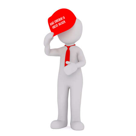 again: Faceless 3D man in red necktie and hand holding Make America Great Again red cap over his head, standing isolated on white background