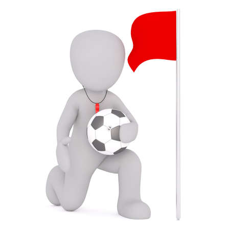 Faceless cartoon character of soccer referee with football in his hand standing on one knee near red flag, 3D render isolated on white background