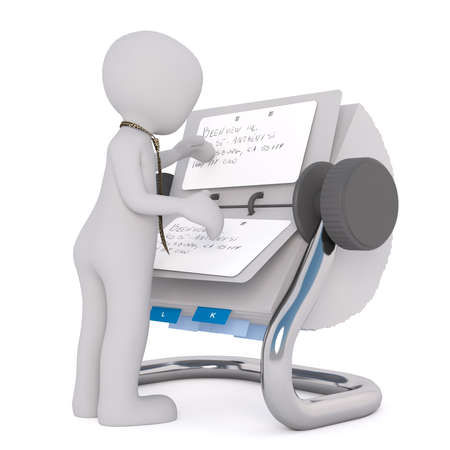 rolodex: Figure of little 3D man in necktie searching information in rolodex filled with cards, standing isolated on white background