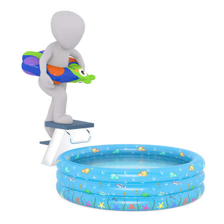 Generic Gray 3d Cartoon Figure Wearing Colorful Inflatable Ring Climbing Stairs to Diving Board Above Small Inflatable Kiddie Swimming Pool in front of White Background