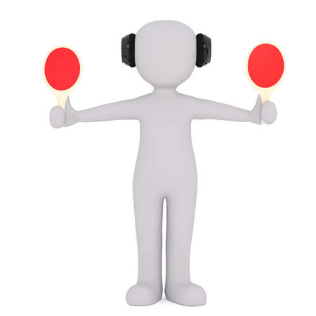 Generic Gray 3d Cartoon Figure Wearing Protective Ear Headphones and Holding Two Red Paddles in Outstretched Arms in front of White Background