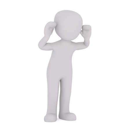 Faceless cartoon 3D man standing isolated on white background with his hands to his ears as if putting out his tongue in teasing gesture Stok Fotoğraf