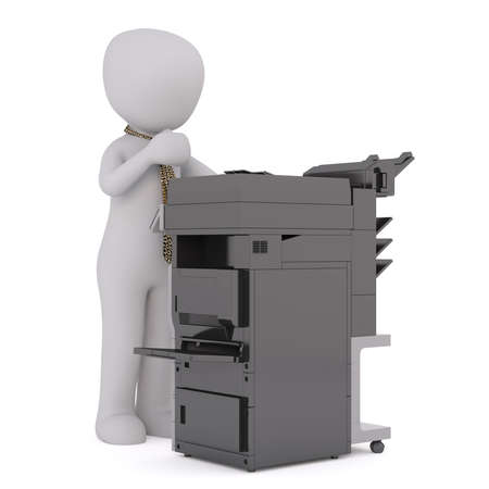 Figure of faceless 3D man in tie standing at big black office copy machine and scanning documents, render isolated on white