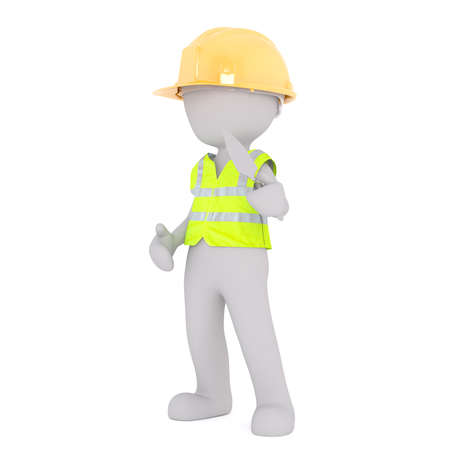 Generic Gray 3d Cartoon Figure Wearing Yellow Hard Hat and Reflective Safety Vest Standing in front of White Background Holding Trowel on Construction Site