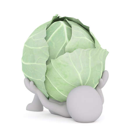 Figure of faceless 3D man laying on back pinned down by huge head of cabbage, render isolated on white background