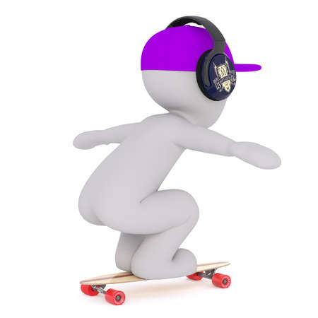 Side full body view of 3d toon skateboarder wearing headphones and cap, white background