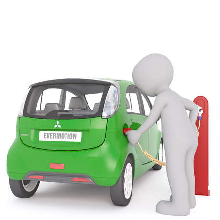 recharging: Generic Gray 3d Cartoon Figure Recharging Environmentally Friendly Electric Car Vehicle at Charging Station in front of White Background