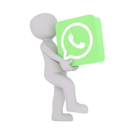 3D rendering of man walking with green icon the size of a box and labeled with an image of a phone