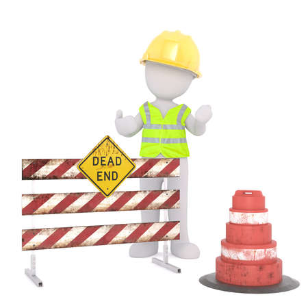 Generic Gray 3d Cartoon Figure Wearing Yellow Hard Hat and Reflective Safety Vest Standing at Dead End Road Block in front of White Background